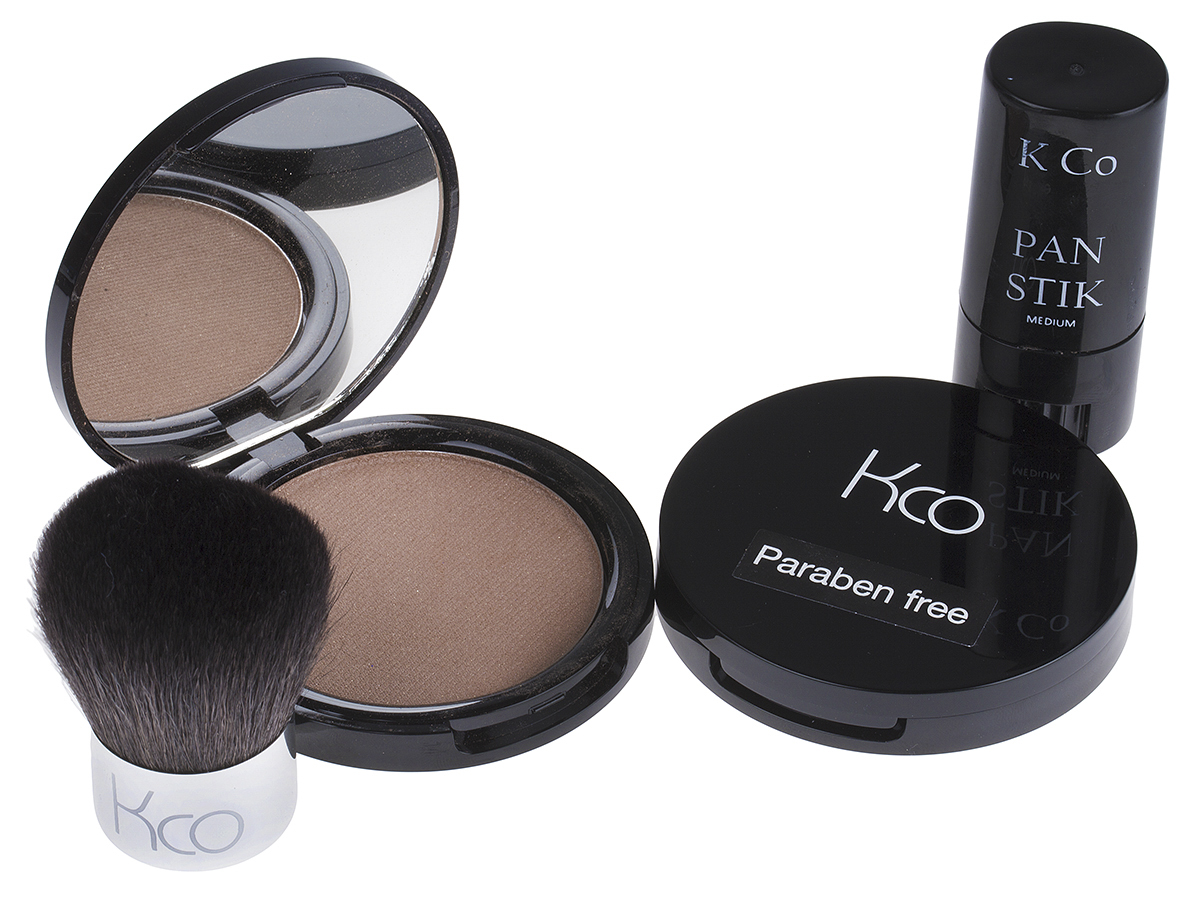 Two kco Compacts, Pan Stick & Brush